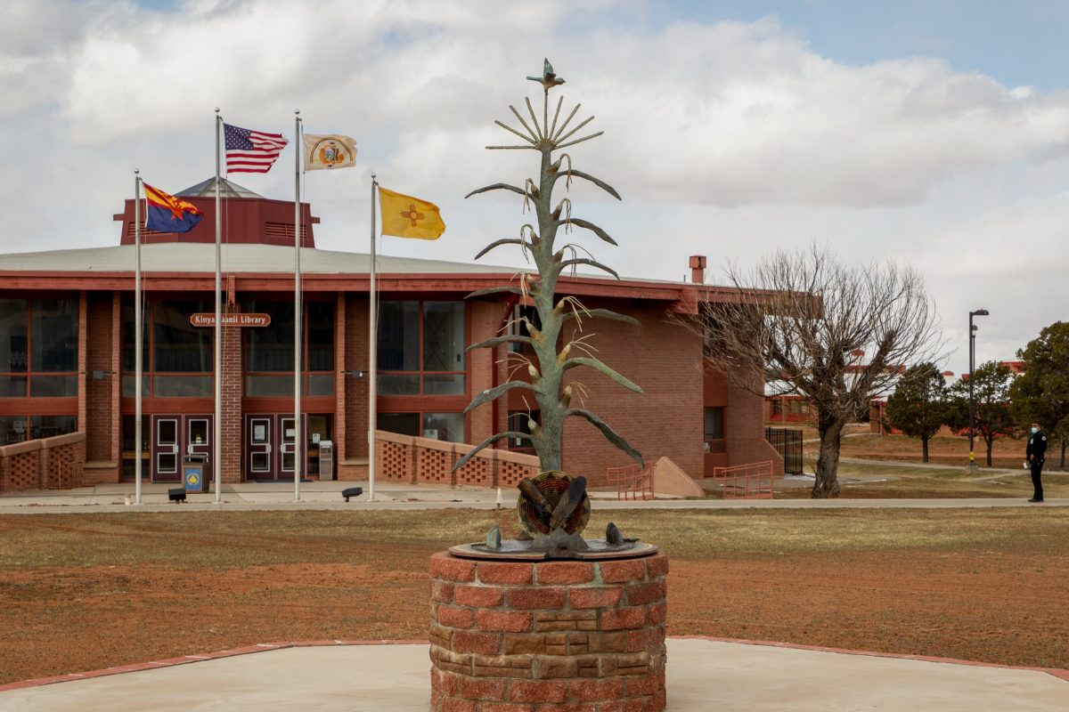 At the center of the Diné College campus near Tsaile is this tribute to corn, a plant with deep philosophical meaning that forms the basis for many Navajo teachings. March 23, 2021. (Photo by Jeff Rosenfield/Cronkite News)