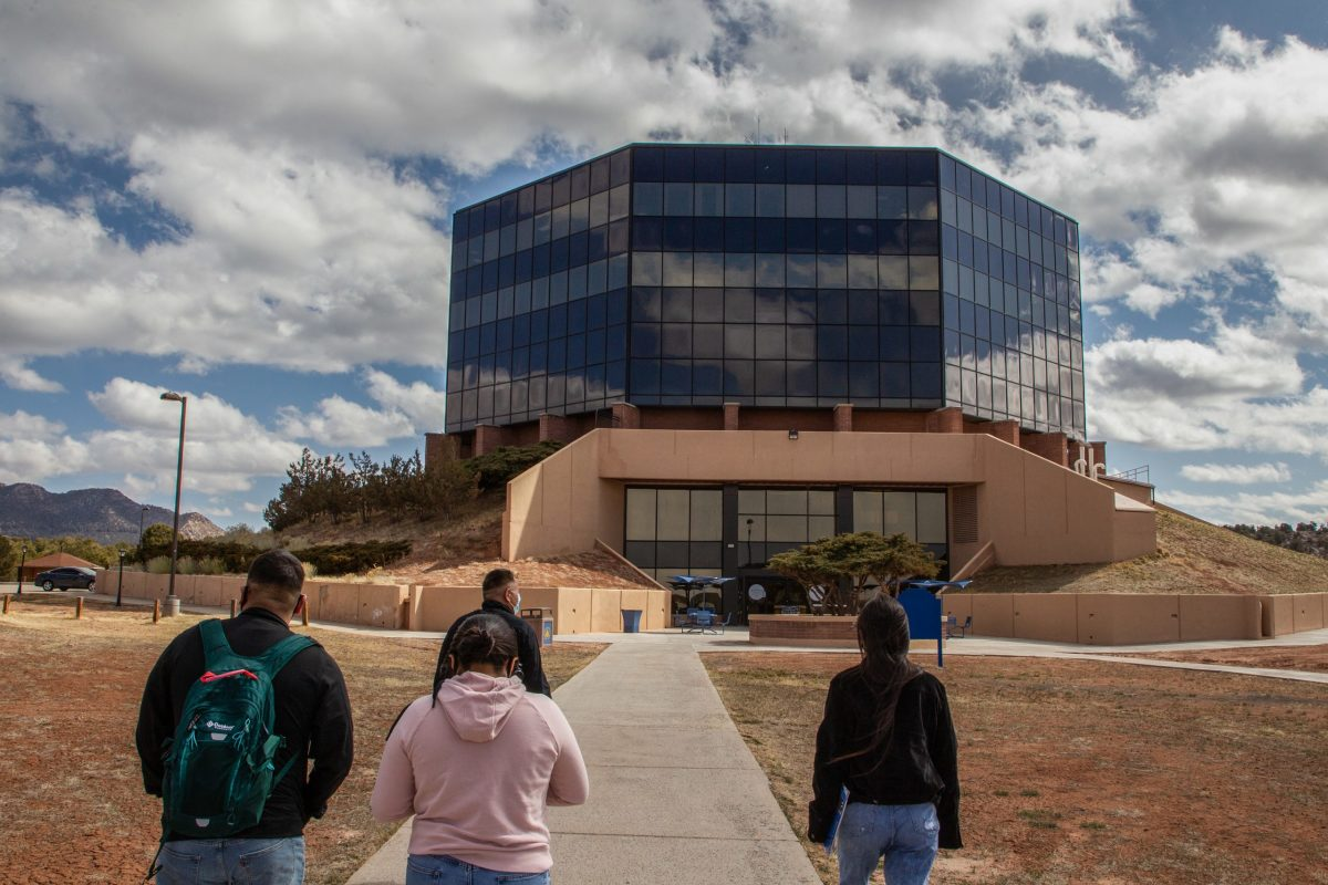"""""""We're one generation away from losing our language, one generation away from losing art or one generation away from losing our stories,"""" Diné College President Charles M. Roessel says. (Photo by Jeff Rosenfield/Cronkite News)"""