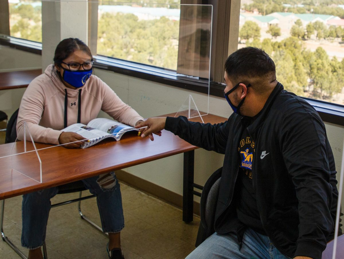Jacy Williams and Nachae Nez were drawn by Diné College's focus on community, tradition and lifelong wisdom. Williams says she learned Navajo traditions she'd never heard of before, March 23, 2021. (Photo by Jeff Rosenfield/Cronkite News)