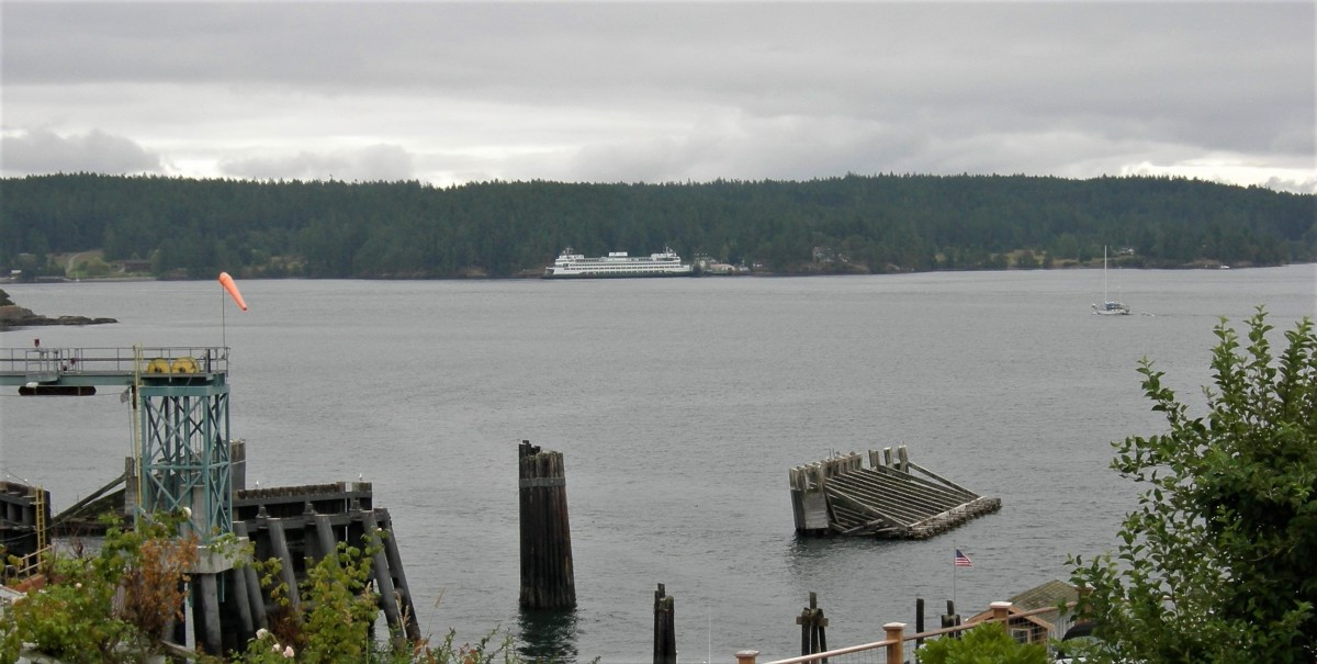 Harney Channel, shown here from Orcas Island toward Shaw Island, is on the route of the Washington State Ferries, the largest ferry system in the United States. (Photo courtesy of Joe Mabel, Creative Commons)