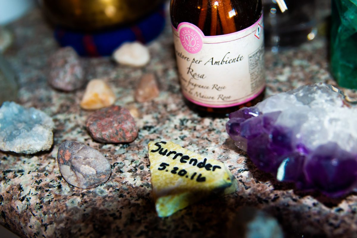 Jamie Weidmann made this surrender rock while in rehab to represent the day of her sobriety. Most people throw their rock into the water to let go of their past, but Weidmann keeps hers as a reminder of who she used to be. Feb. 2021 (Photo by Taylor Eagleston/Special for Cronkite News)