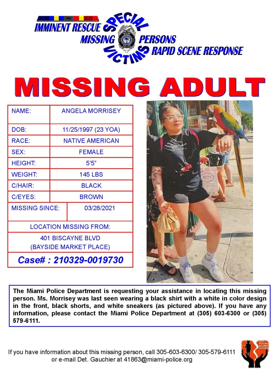 Angela Morrisey missing poster submitted by the Miami Police Department.