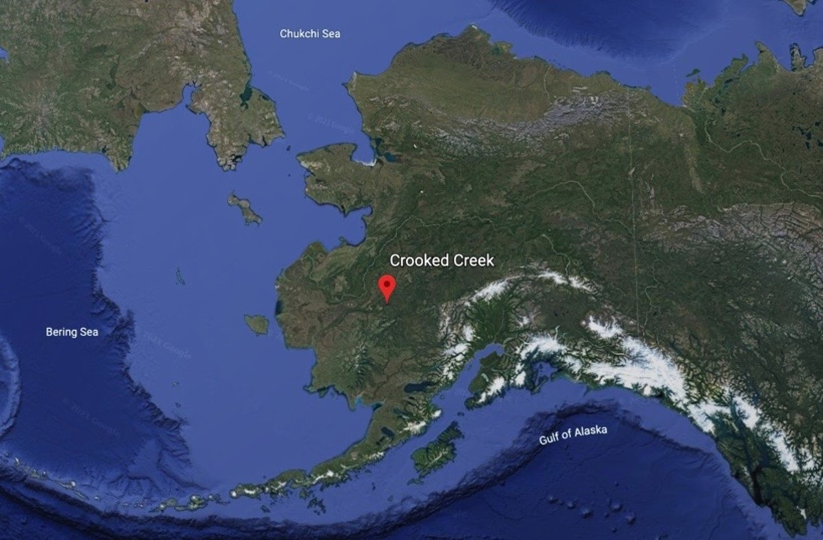 The proposed Donlin Gold mine is shown with a marker in this Google Earth satellite image of Alaska.