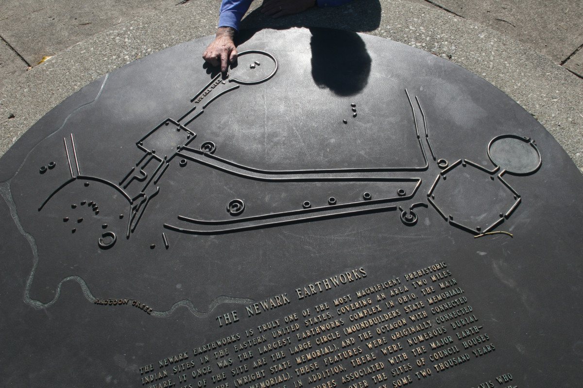 A plaque at the Newark Earthworks shows an aerial view of the ancient mounds, which have been nominated to be a UNESCO World Heritage site. (Photo by Mary Annette Pember)
