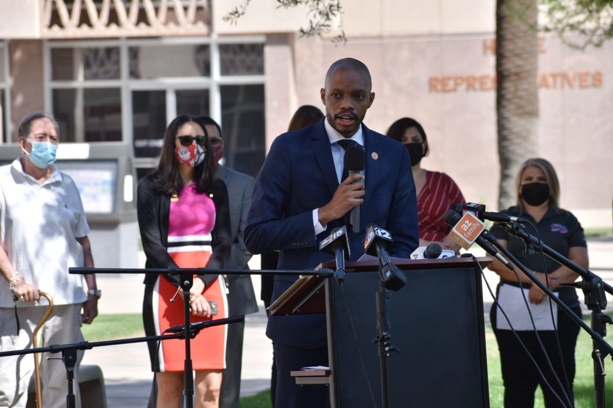 """State Rep. Reginald Bolding, D-Phoenix, believes that """"the Republicans in the Legislature are coming for your voting rights."""" April 7, 2021. (Photo by Kelly Richmond/Cronkite News)"""