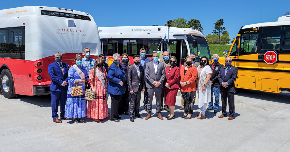 Pictured: The Cherokee Nation on Monday unveiled its first public, rural eco-friendly electric buses to transport employees and tribal citizens to work and tribal health centers, and its first electric school bus, which is the first of its kind in the state of Oklahoma.