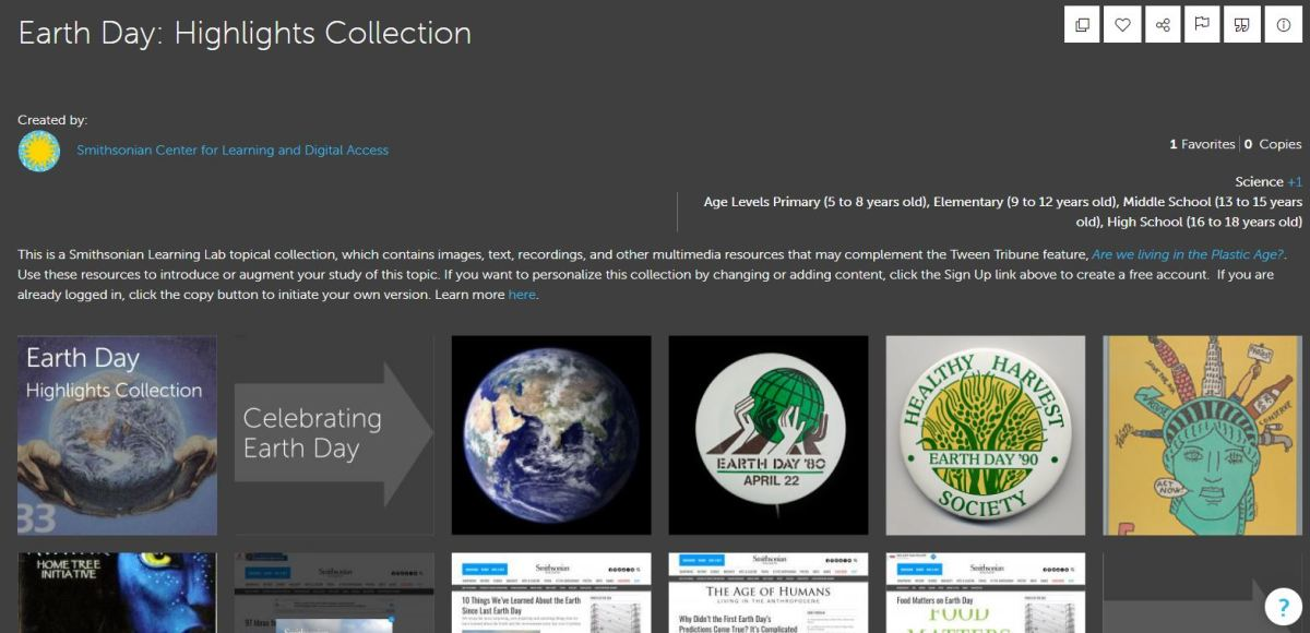 Smithsonian Earth Day Highlights Collection (Screen capture)