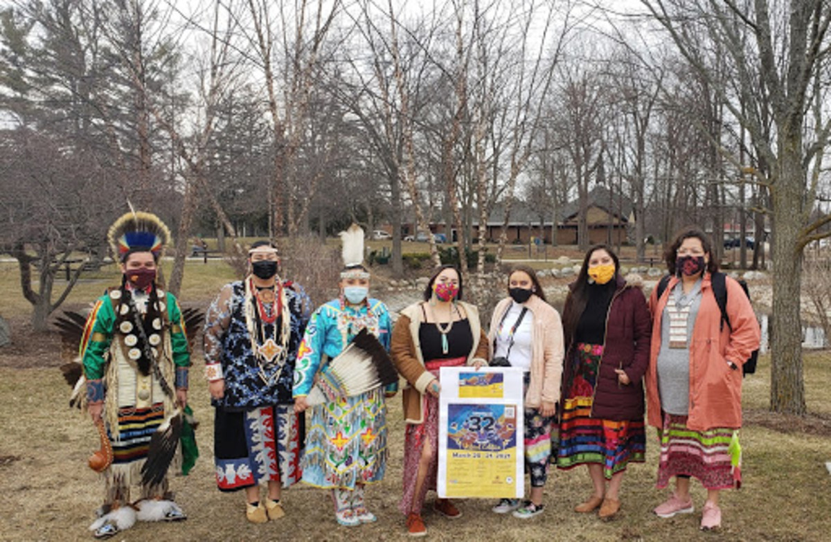 Central Michigan University's Celebrating Life Pow Wow opted for a virtual powwow for a second year for its March 20-21, 2021 event. Shown here, from left, are students and powwow committee members Zack Antoine-Jackson, Onyleen Zapata, Waskwane Stonefish, Ayebah Wilson, Cicilee Chivis, Summer Baldwin and Judy Webkamigad. (Photo courtesy of Central Michigan University Native American Programs)