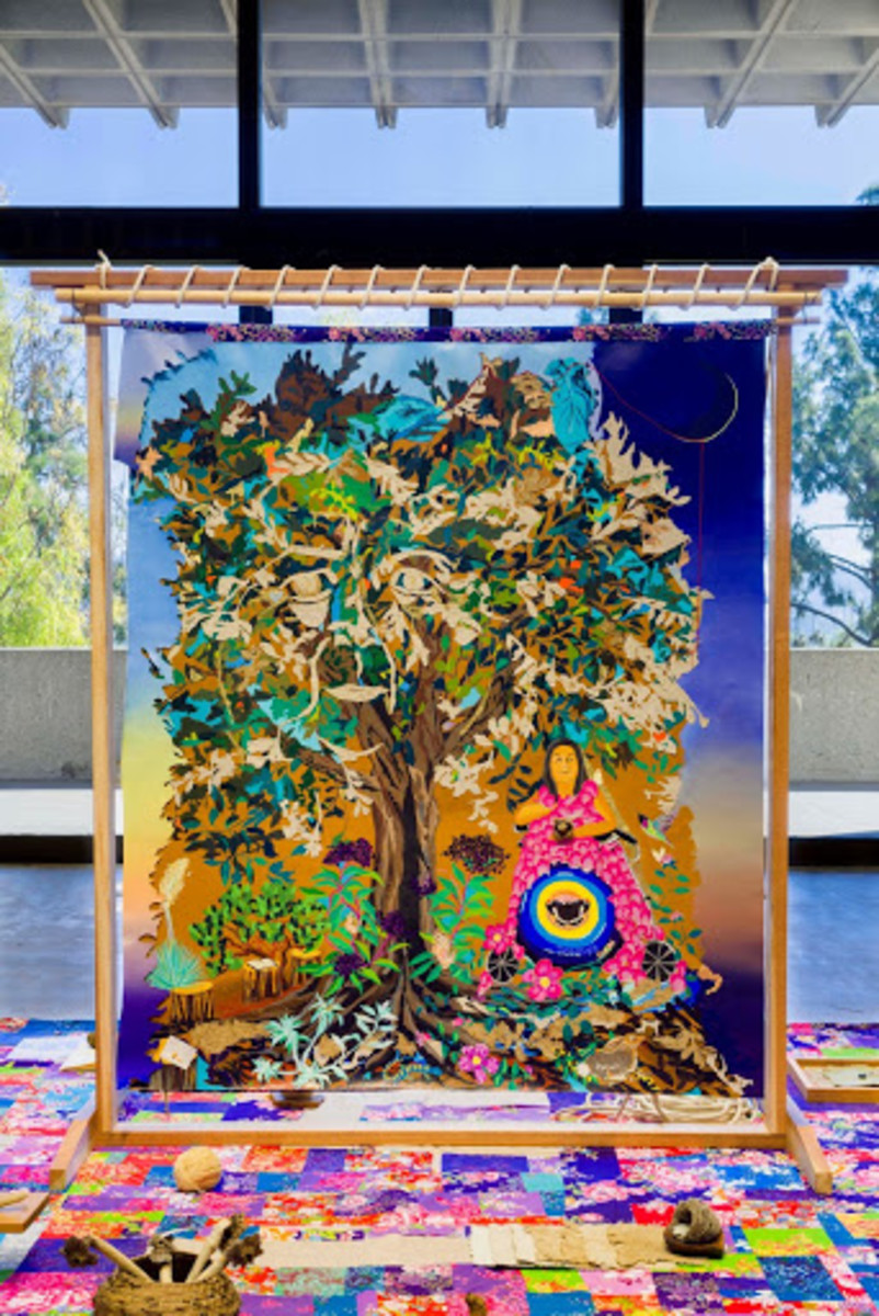 """Tongva elder Julia Bogany is depicted in this work, """"Lessons from a Wise Woman, by artist iris yirei hu. The art later became the source for a 47-foot mural at California State University, Dominguez Hills. (Photo courtesy of Pitzer College)"""