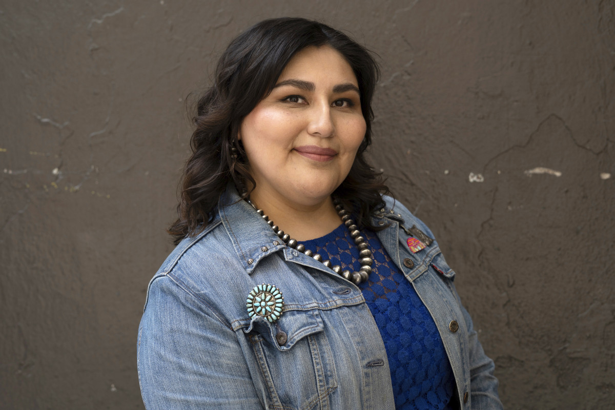 """This image shows Sierra Teller Ornelas, writer and producer of """"Rutherford Falls,"""" a new series on the Peacock streaming service, April, 2021. (Reginald Cunningham via AP)"""