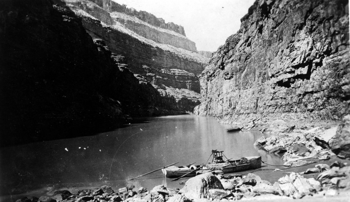 John Wesley Powell's second expedition on the Green River in Desolation Canyon, 1871. (Photo courtesy of National Park Service)