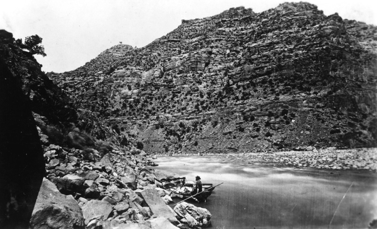 John Wesley Powell's second expedition on the Colorado River in Marble Canyon, 1872. (Photo courtesy of National Park Service)