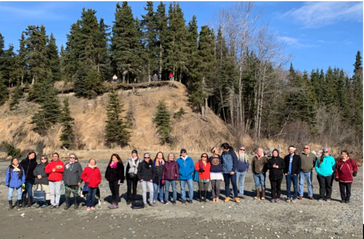Alaska Native languages educators stand on a beach outside of Kenai Penninsula College in Soldotna, Alaska, during a 2019 seminar put on by the Alaska Native Studies Council. The council is now demanding that the University of Alaska System make a major investment in language curriculum and programs to support Alaska Native students and faculty. (Photo courtesy of Sondra Shaginoff-Stuart )