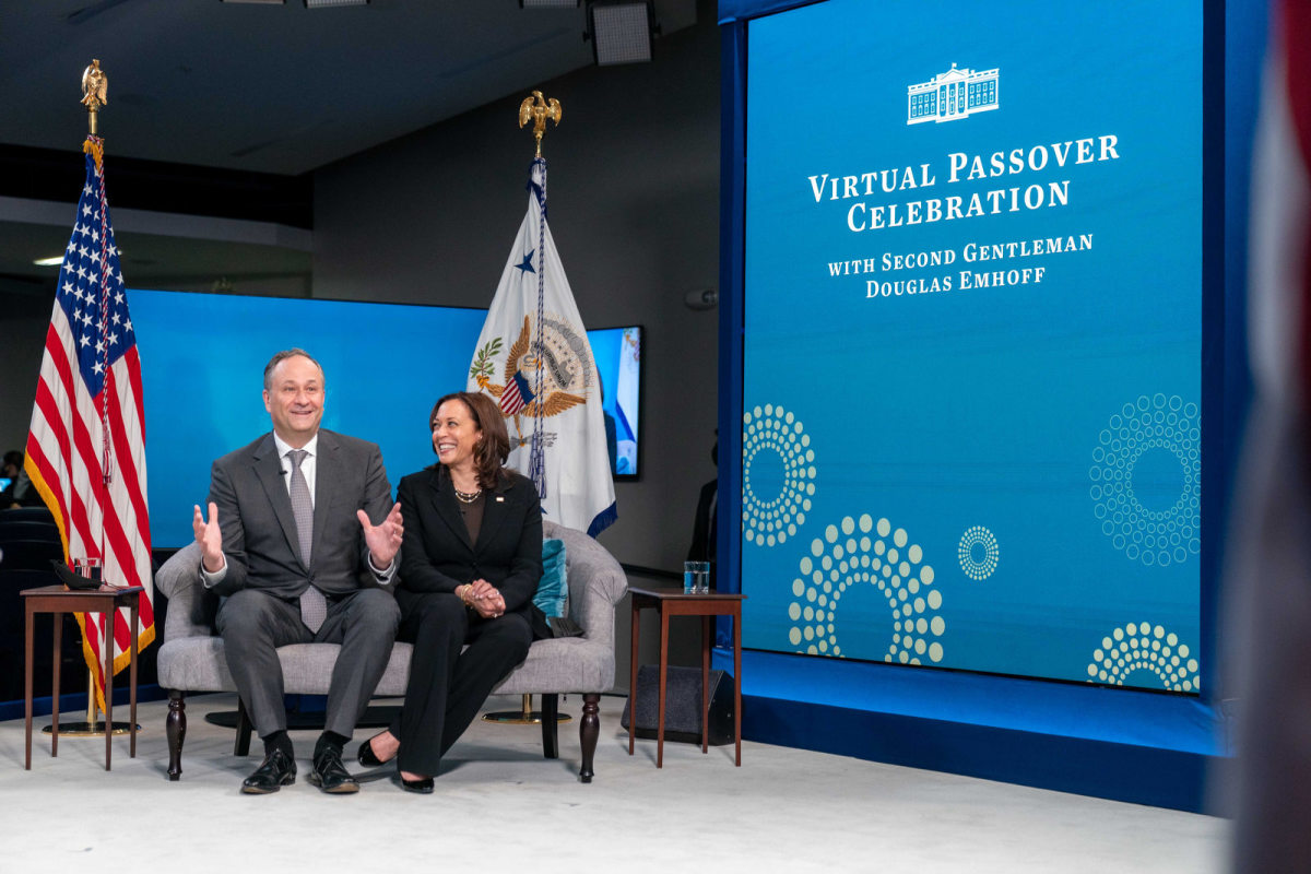 Vice President Kamala Harris and Second Gentleman Douglas Emhoff participate in the White House Passover Seder, Thursday, March 25, 2021, in the South Court Auditorium in the Eisenhower Executive Office Building at the White House. (Official White House Photo by Lawrence Jackson)