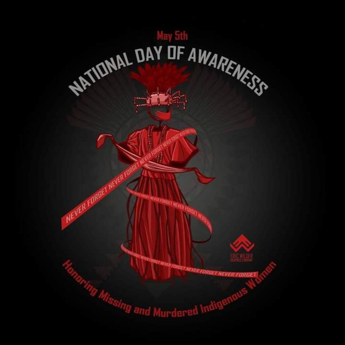 Pictured: May 5th National Day of Awareness Honoring Missing and Murdered Indigenous Women poster.