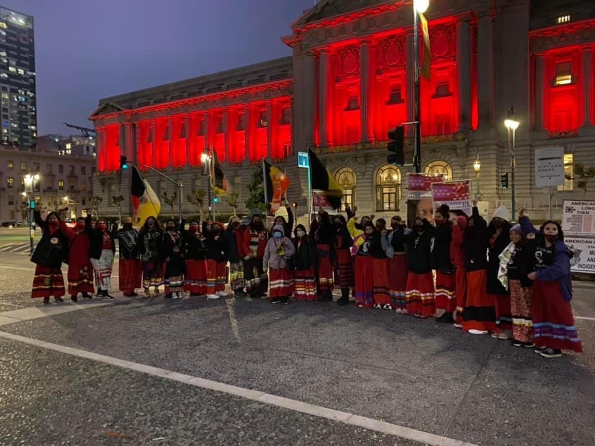 Pictured: Indigenous community leaders, families of victims, domestic violence advocates, and City of San Francisco representatives gathered at gathered at sundown outside San Francisco City Hall May 5, 2021 for National Day of Awareness Honoring Missing and Murdered Indigenous Women.