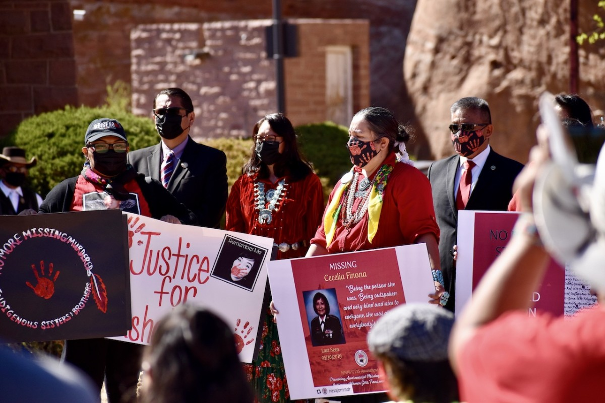 Pictured: Navajo leaders offer their support for families of missing andmurdered relatives at the Navajo Nation Council Chamber in WindowRock, Arizona on May 5, 2021.