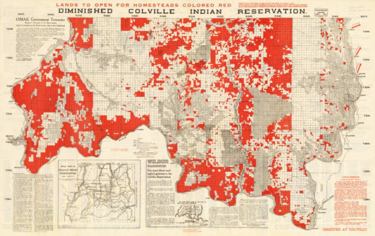 Clair Hunt's Map of the South Half or Diminished Colville Indian Reservation 1916. (Photo courtesy of the Confederated Tribes of the Colville Reservation)