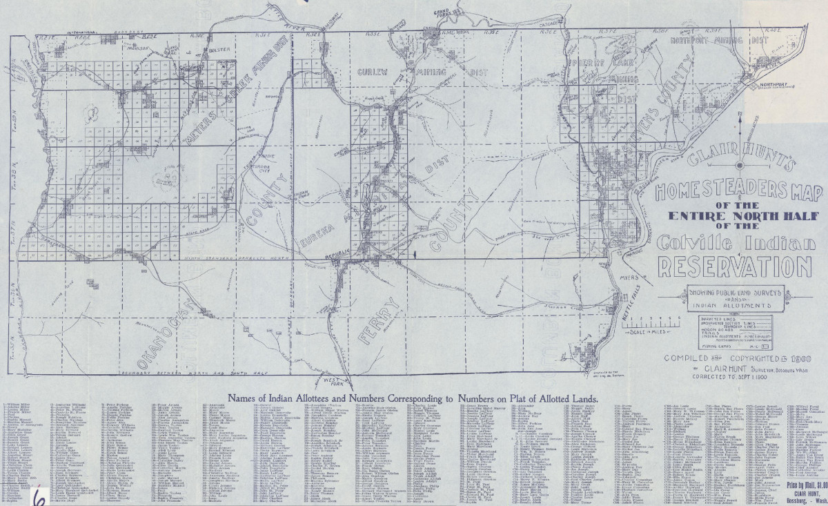 Clair Hunt's Map of the North Half of the Colville Indian Reservation in 1900. (Photo courtesy of the Confederated Tribes of the Colville Reservation)