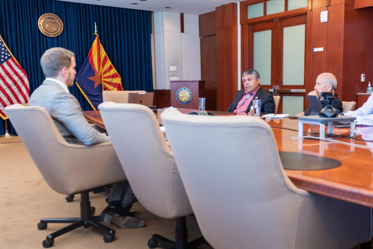 Pictured: Navajo Nation Council Delegate Kee Allen Begay, Jr. met with Arizona Governor Doug Ducey's Policy Advisor Ben Blink at the Arizona State Capitol Building.
