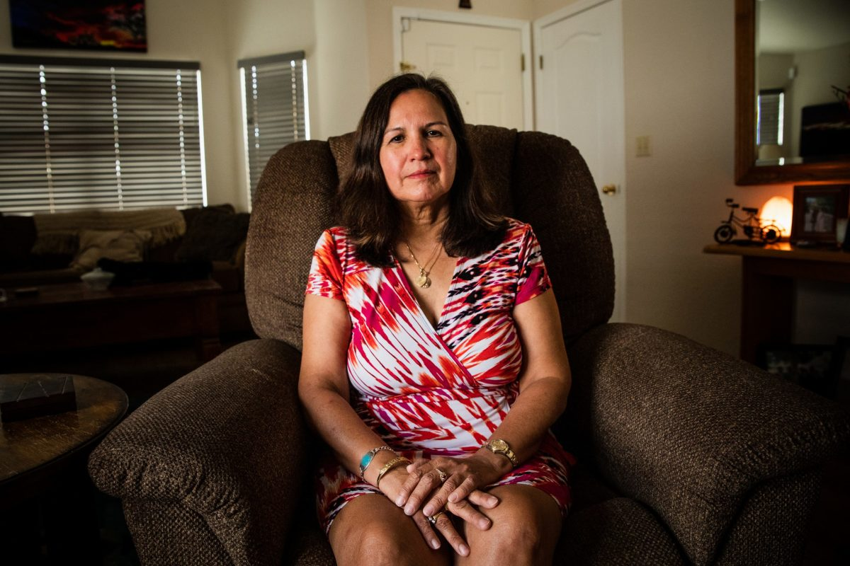 """Theresa Guerrero at her house in Tucson on April 26, 2021. """"Drugs would be the last thing I would have imagined he would die from,"""" she says of her son, Jacob. """"I was shocked when they told me it was fentanyl."""" (Photo by Alberto Mariani/Cronkite News)"""