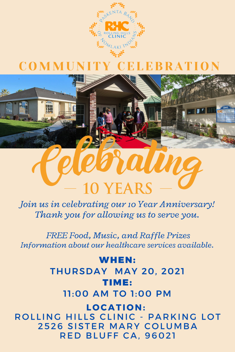 Pictured: Poster for Paskenta Band Of Nomlaki Indians -Rolling Hills Clinic celebration in Red Bluff, California.