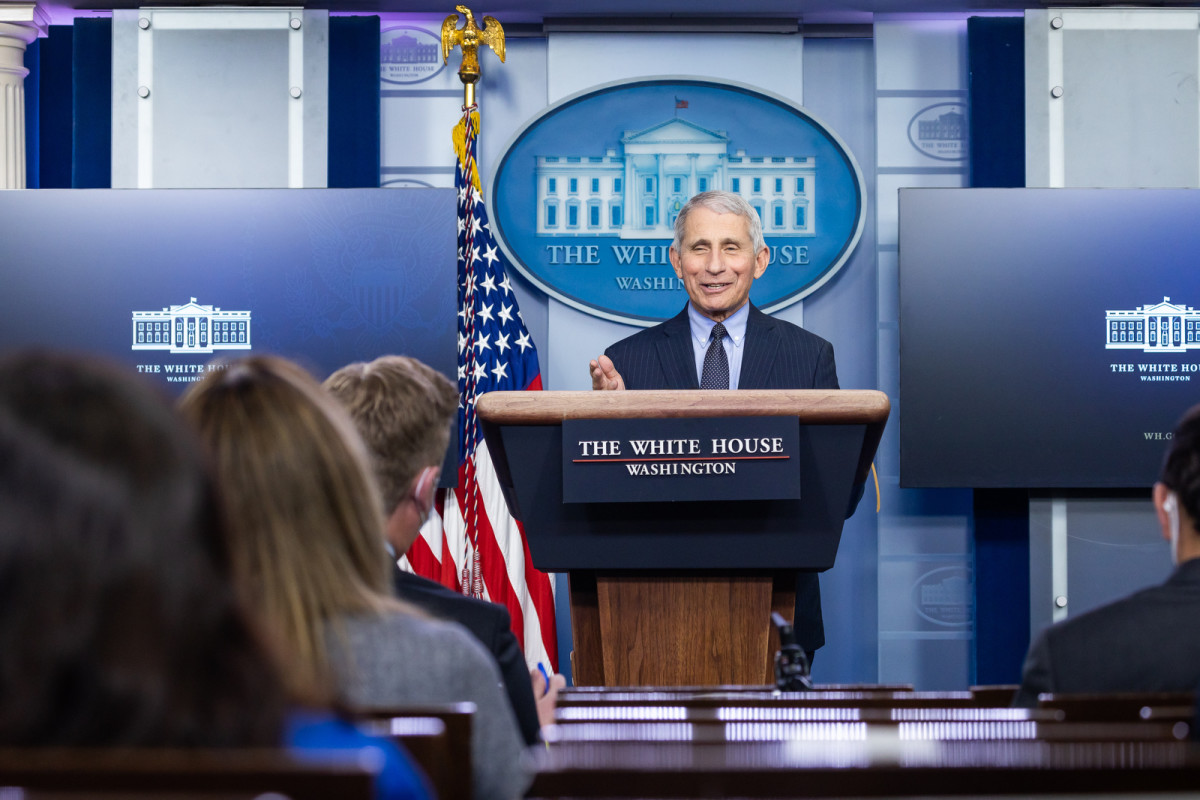 Chief Medical Advisor to the President Dr. Anthony Fauci participates in a briefing Thursday, Jan. 21, 2021, in the James S. Brady Press Briefing Room of the White House. (Official White House Photo by Chandler West)
