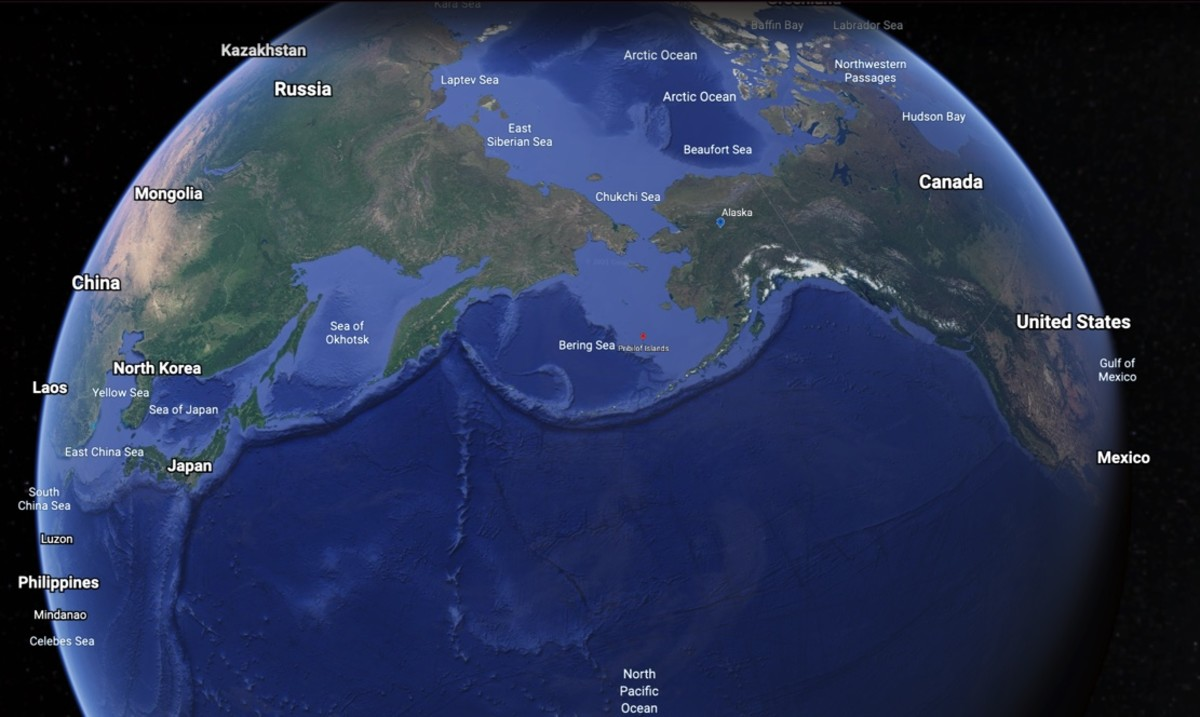This Google Earth depiction shows Alaska;s strategic location between North America and Asia.