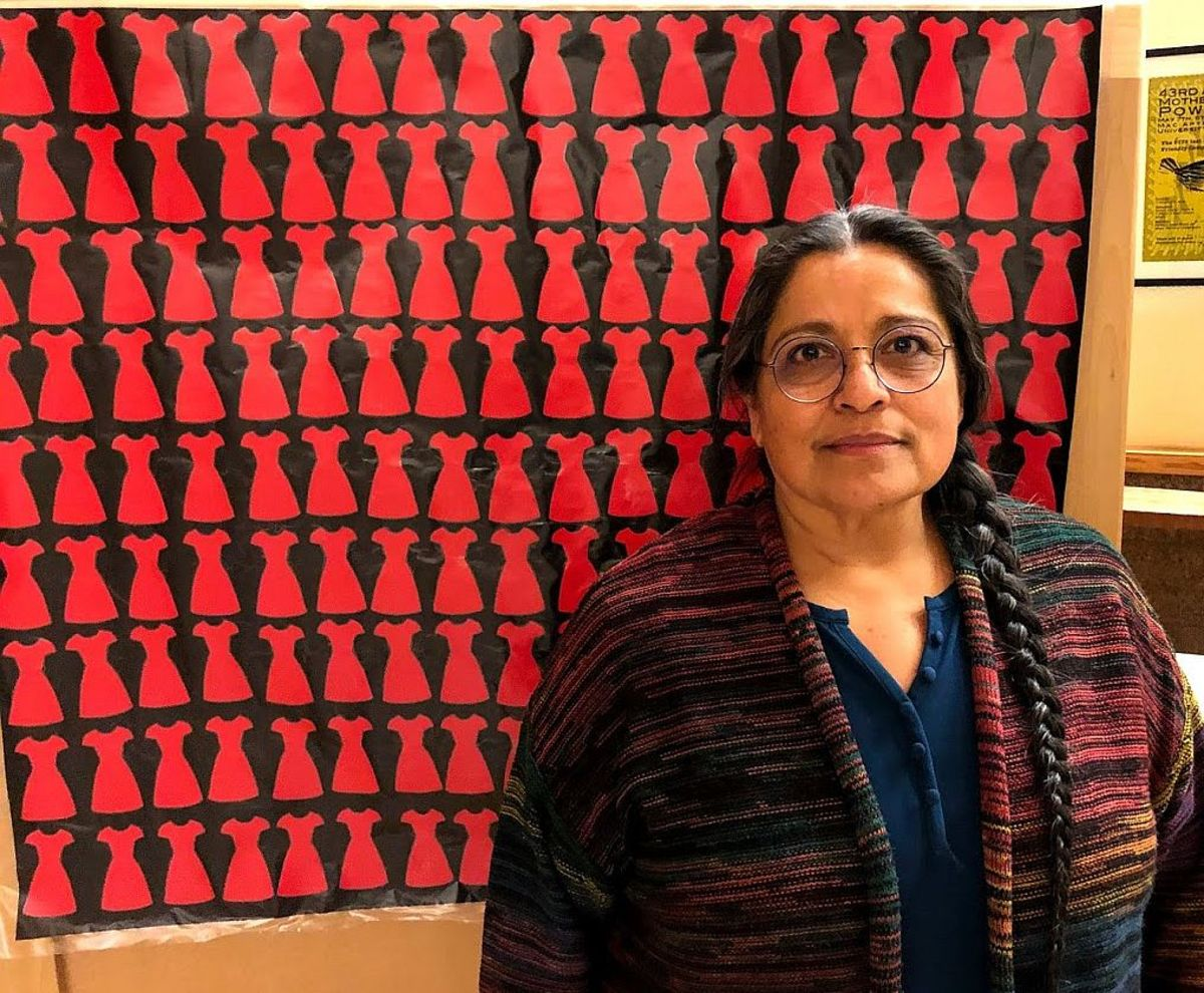 State Rep. Tawna Sanchez during an MMIWG listening session at the University of Oregon in January 2020. (Photo by Brian Bull, KLCC)