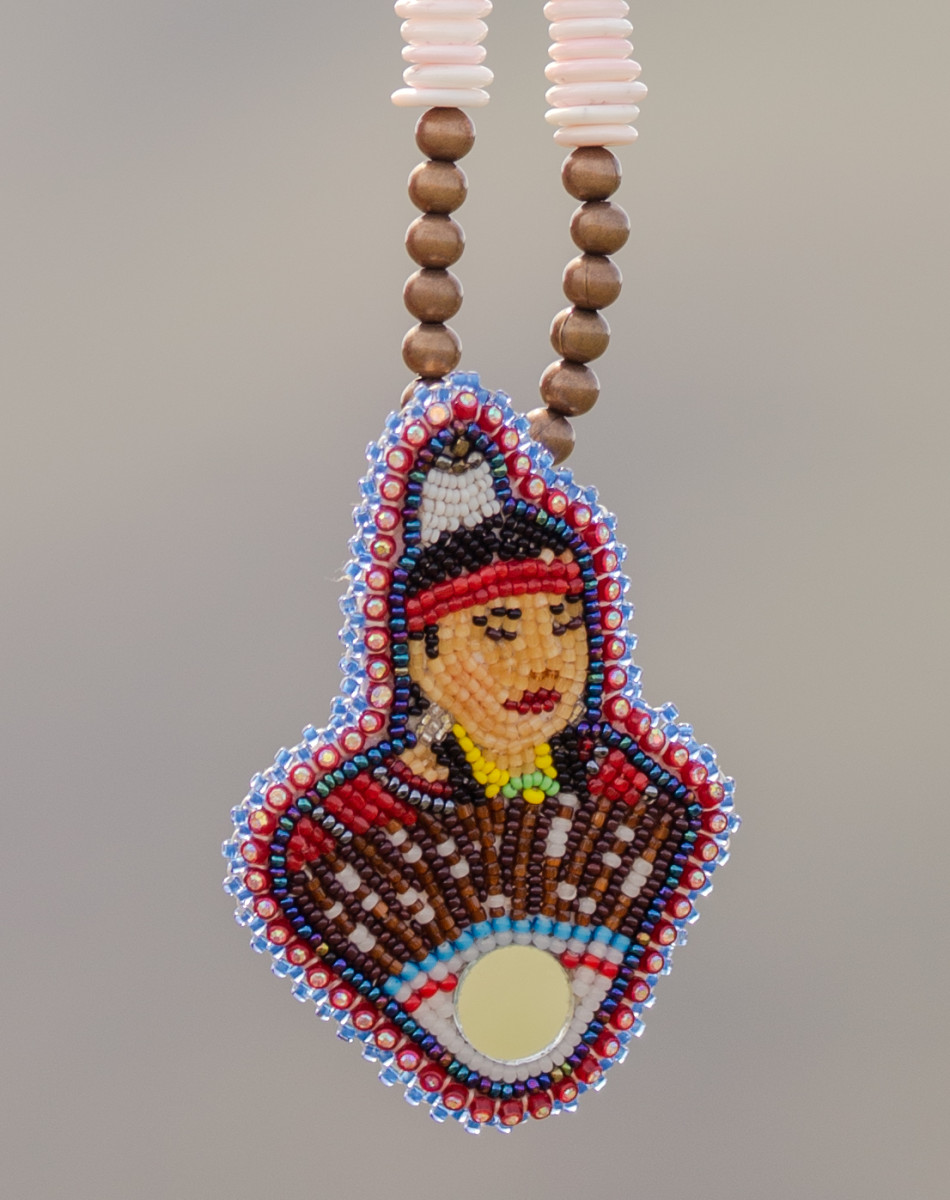 This beadwork portrait of Mavis Kirk-Greeley created by her sister, Merle Kirk, became a symbol of the Missing and Murdered Indigenous Women and Girls movement in Oregon. (Photo by Kathy Aney, Underscore)