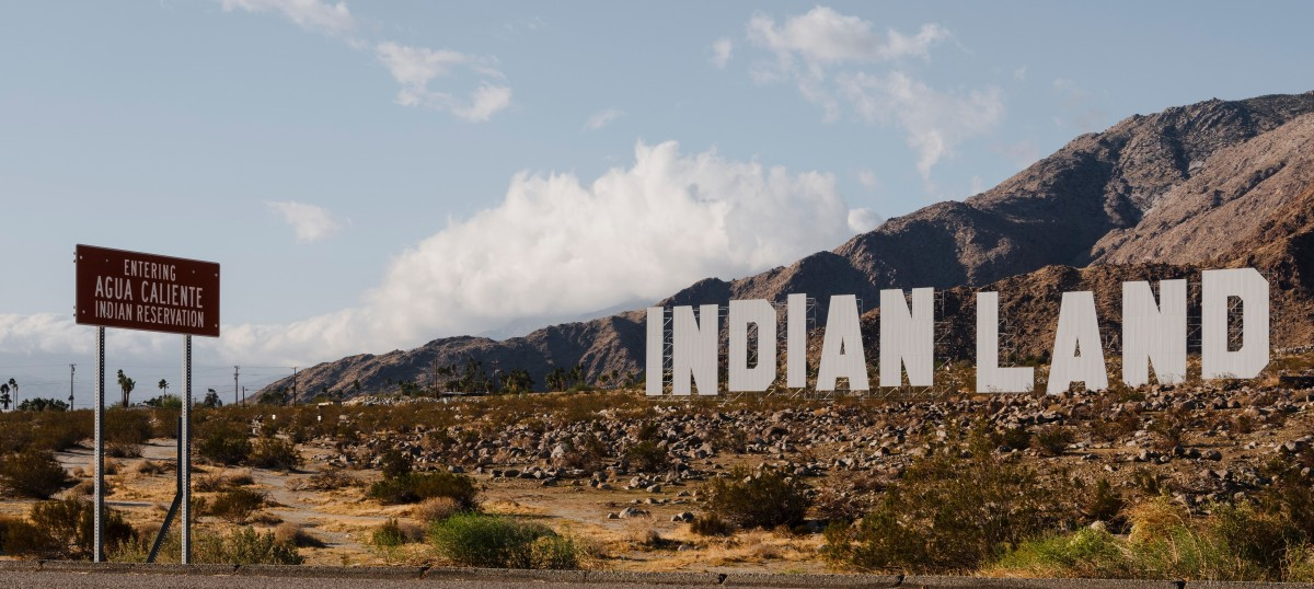 An art installation by Nicholas Galanin sits at the entrance to the Agua Caliente Indian Reservation in southern California. The installation is part of 13 pieces as part of Desert X 2021 in Coachella Valley, and is set to remain in place until July 6, 2021. (Photo by Lance Gerber, courtesy of the artist and Desert X)