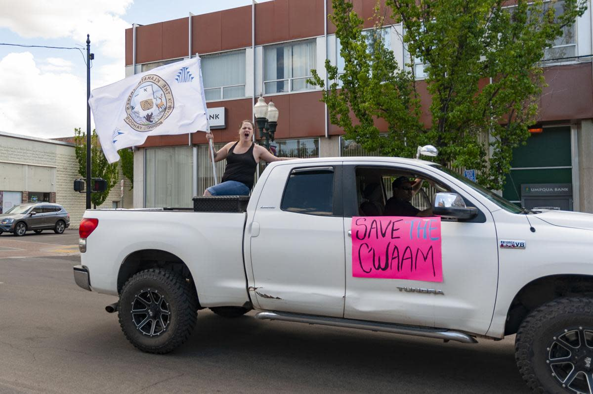 Charlie Wright, a Klamath Tribal member and organizer of the caravan, said she thinks it's time for tribal members to speak up more often on water issues in the Klamath Basin. May, 2021 (Photo by Herald and News)