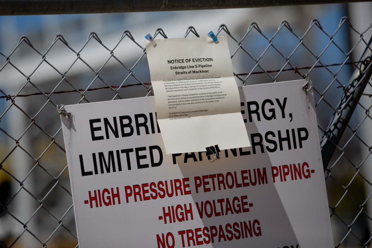 Activists opposing Enbridge's Line 5 posted an eviction notice at the company's pumping station in Mackinaw City, Michigan on May 13, 2021. (Photo courtesy Beth Price)