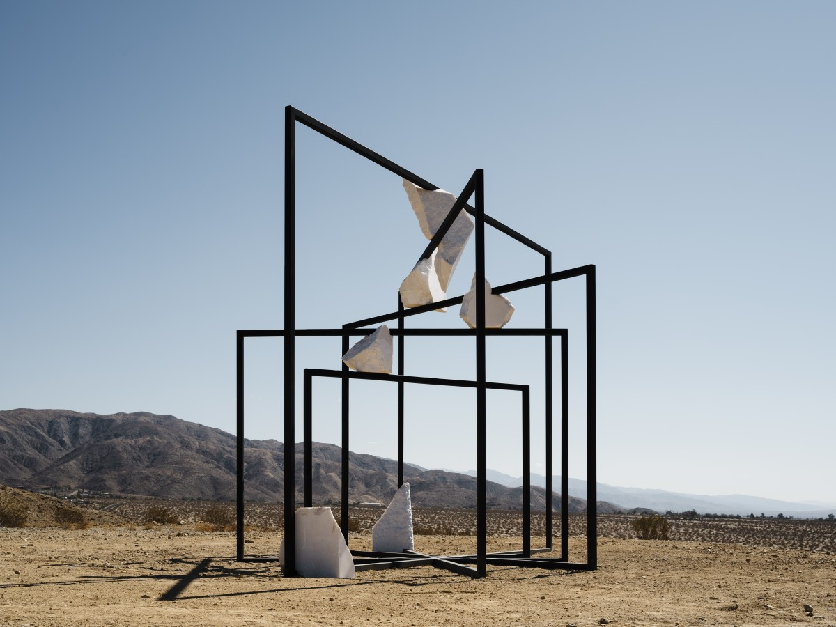 The Desert X 2021 art installation in California's Coachella Valley features the works of other artists from around the world. This is an installation view of Alicja Kwade's ParaPivot (sempiternal clouds). (Photo by Lance Gerber, courtesy of the artist and Desert X)