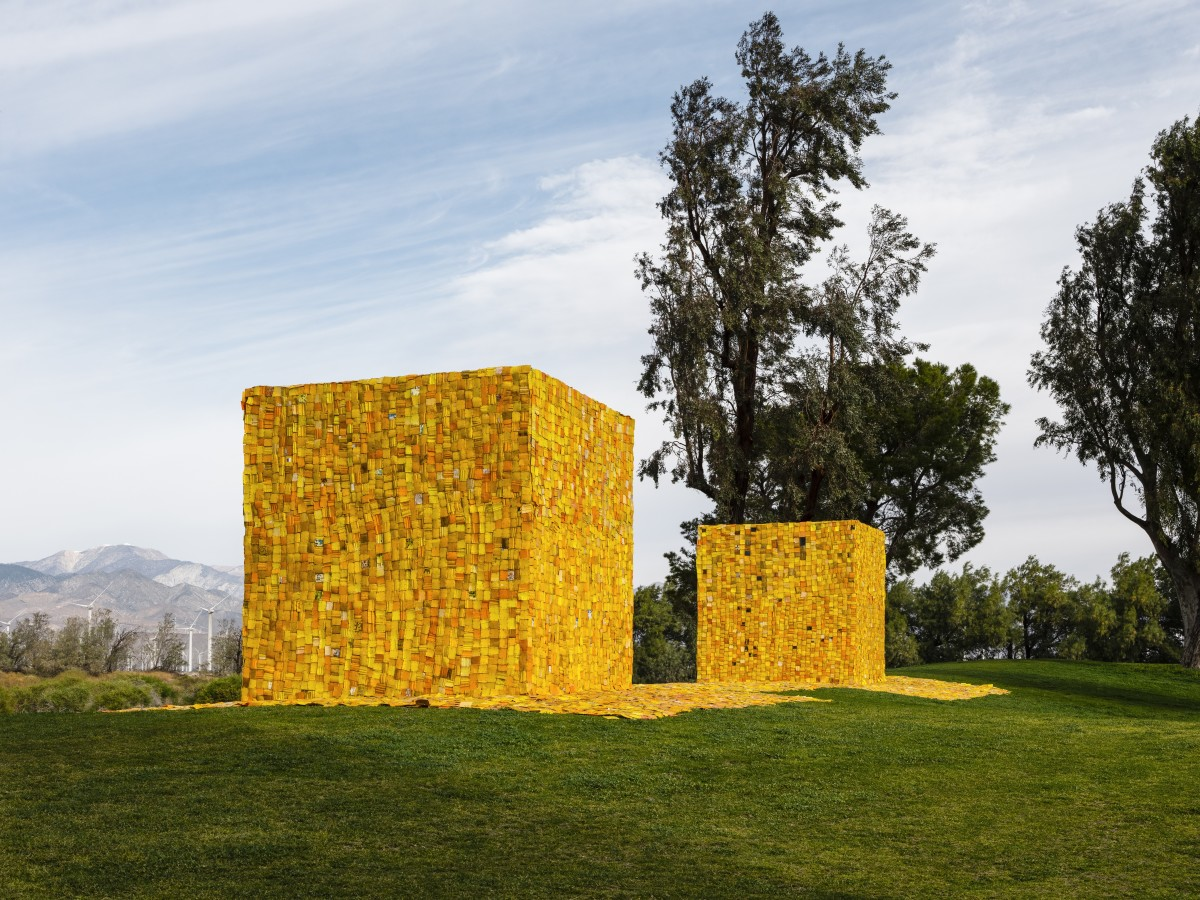 """Desert X 2021 installation view of Serge Attukwei Clottey's """"The Wishing Well."""" (Photo by Lance Gerber, courtesy of the artist and Desert X)"""