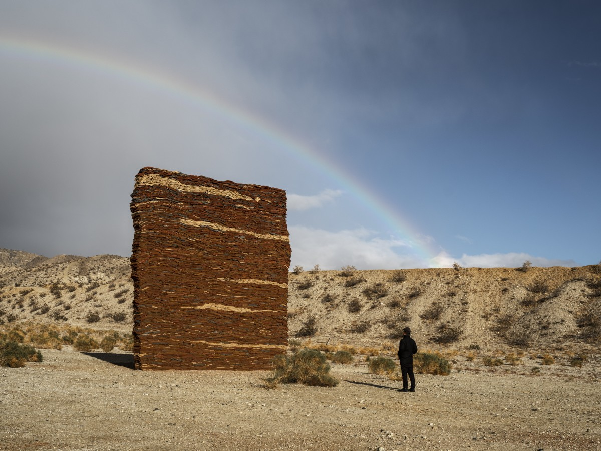 """Desert X 2021 installation view of Zahrah Alghamdi's """"What Lies Behind the Walls."""" (Photo by Lance Gerber, courtesy of the artist and Desert X)"""