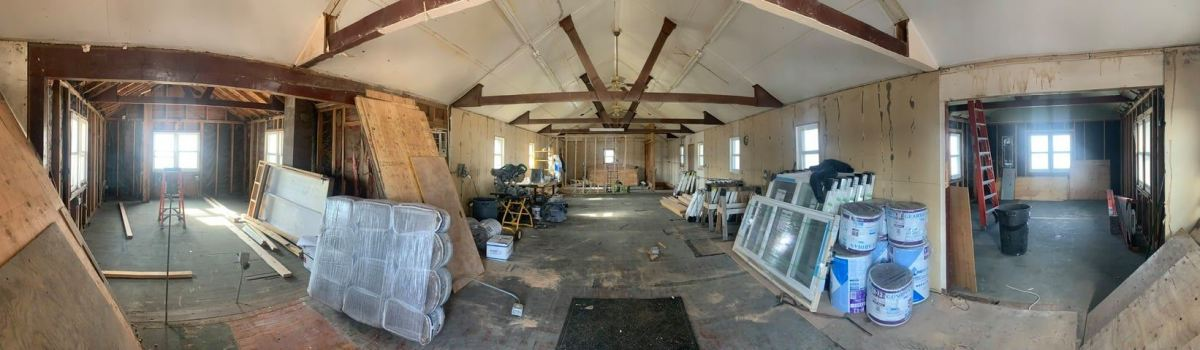 Pictured: Panoramic view of construction of Racing Magpie's new space that will open in the coming months to provide affordable Native American artist studios, a gallery, and community space in Rapid City, South Dakota.
