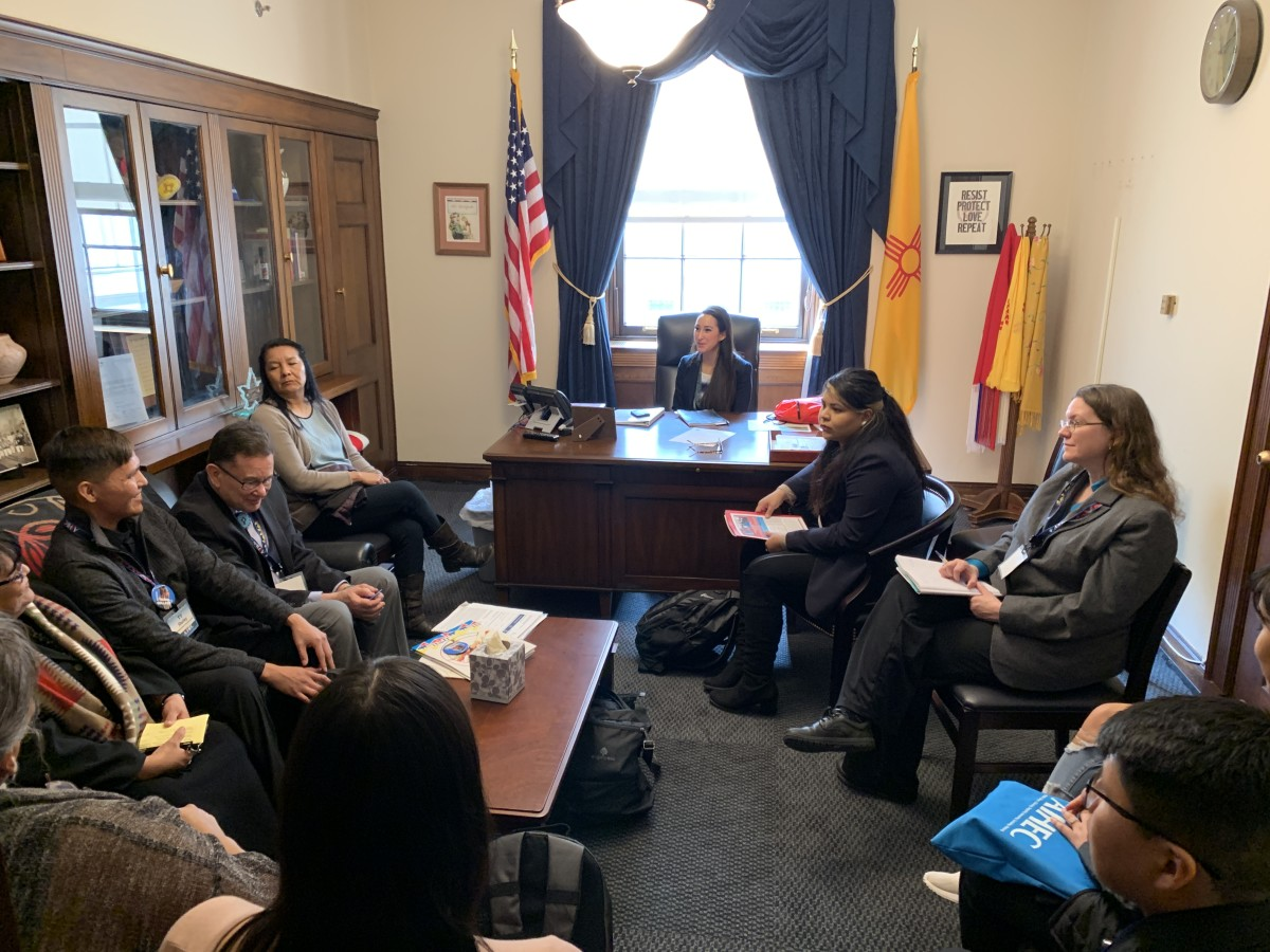 Native college students introduce themselves in their Native languages in the office of New Mexico Rep. Deb Haaland, Laguna Pueblo, and her staff during tribal college week in Washington, D.C. in February 2019. (Photo by Jourdan Bennett-Begaye, Indian Country Today, File)