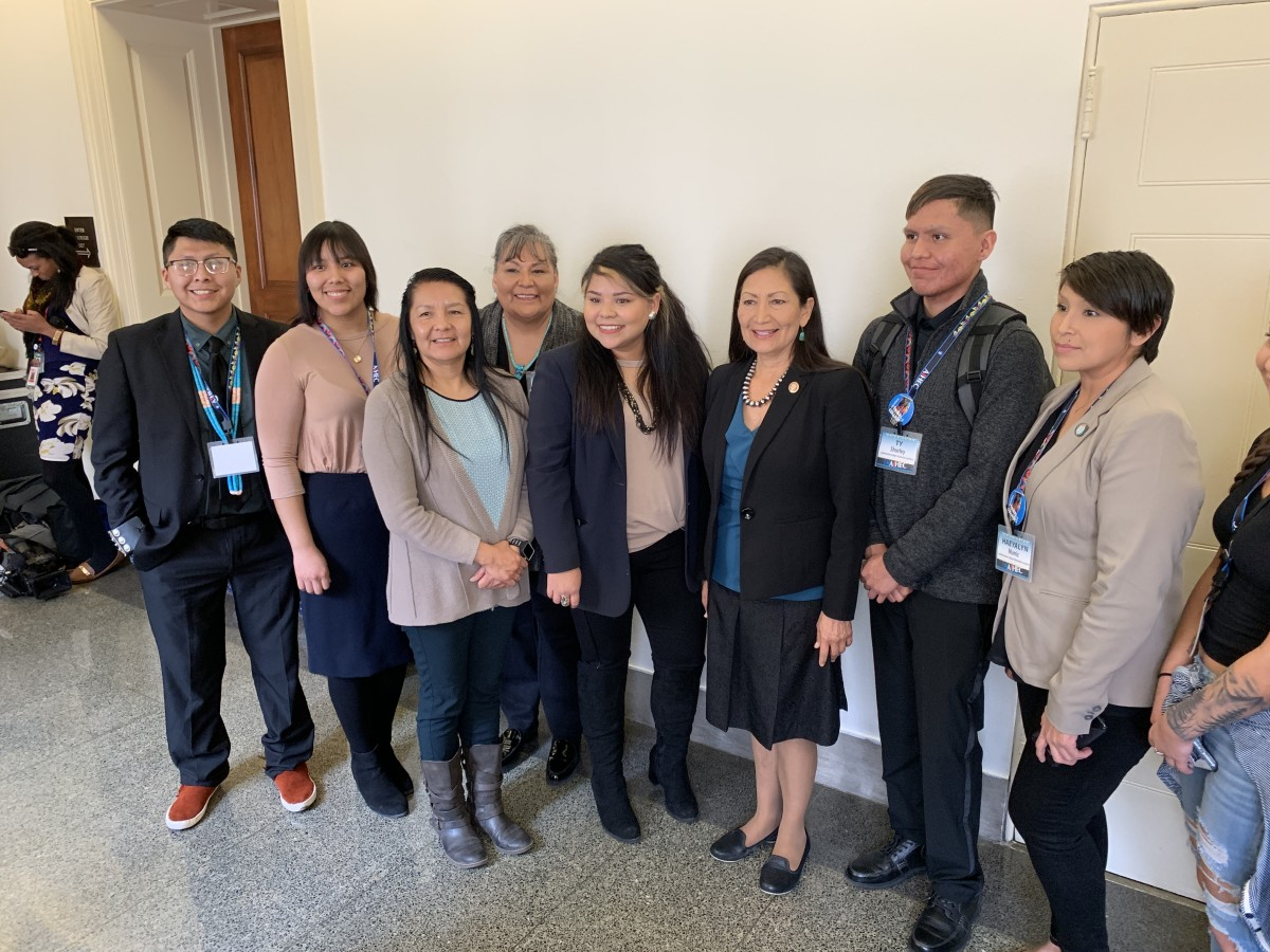 New Mexico Rep. Deb Haaland, Laguna Pueblo, stood for a photo with Native college students and the president of the Southwestern Indian Polytechnic Institute during tribal college week in Washington, D.C. in February 2019. (Photo by Jourdan Bennett-Begaye, Indian Country Today, File)