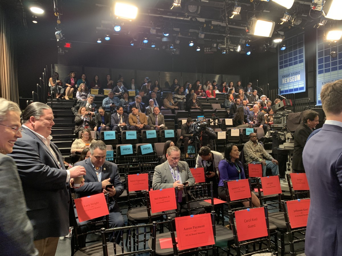 Tribal leaders, media and guests at the State of Indian Nations Address at the Newseum in Washington, D.C. on February 11, 2019. (Photo by Jourdan Bennett-Begaye, Indian Country Today, File)
