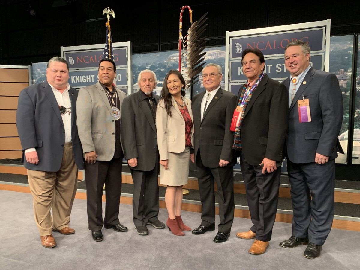 Tribal leaders with Deb Haaland at the State of Indian Nations Address at the Newseum in Washington, D.C. on February 11, 2019. (Photo by Jourdan Bennett-Begaye, Indian Country Today, File)