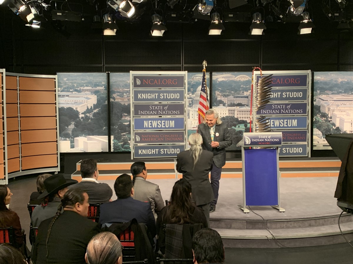 Aaron Payment and other tribal leaders at the State of Indian Nations Address at the Newseum in Washington, D.C. on February 11, 2019. (Photo by Jourdan Bennett-Begaye, Indian Country Today, File)