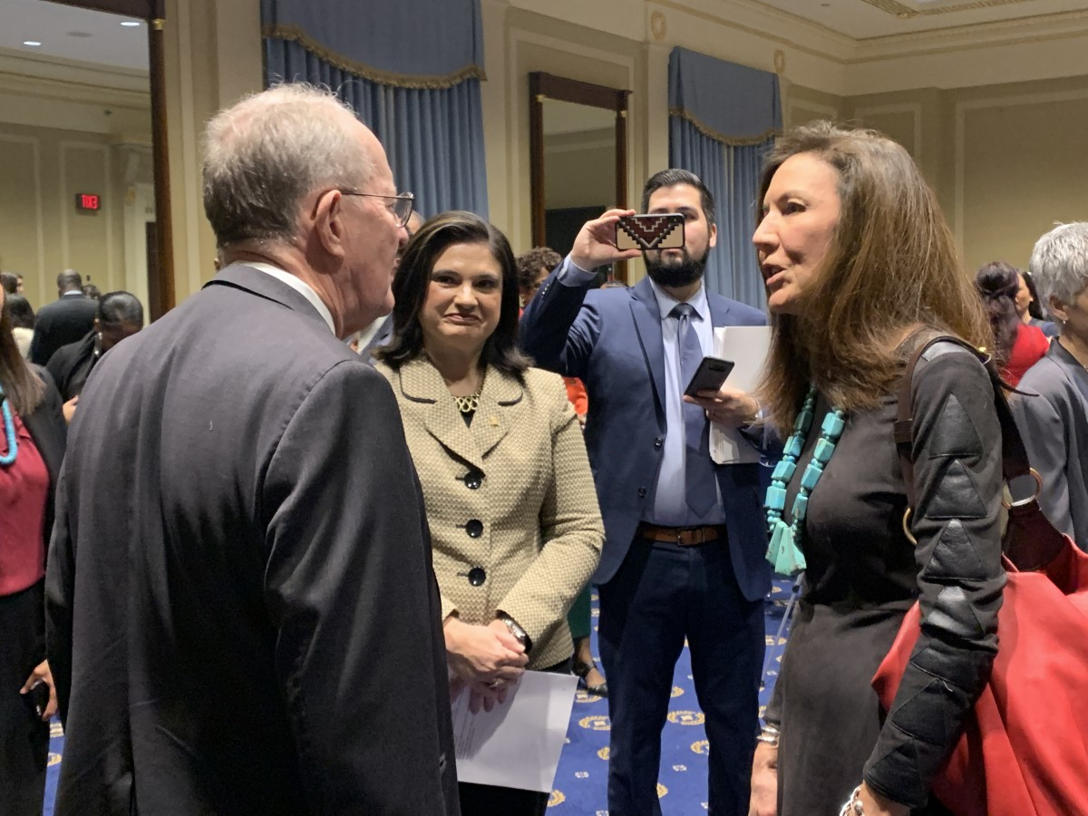 American Indian Higher Education Consortium President and CEO Carrie L. Billy, Navajo, talking with a lawkmaker at THE FUTURE ACT gathering at the U.S. Capitol in December 2019. (Photo by Jourdan Bennett-Begaye, Indian Country Today, File)