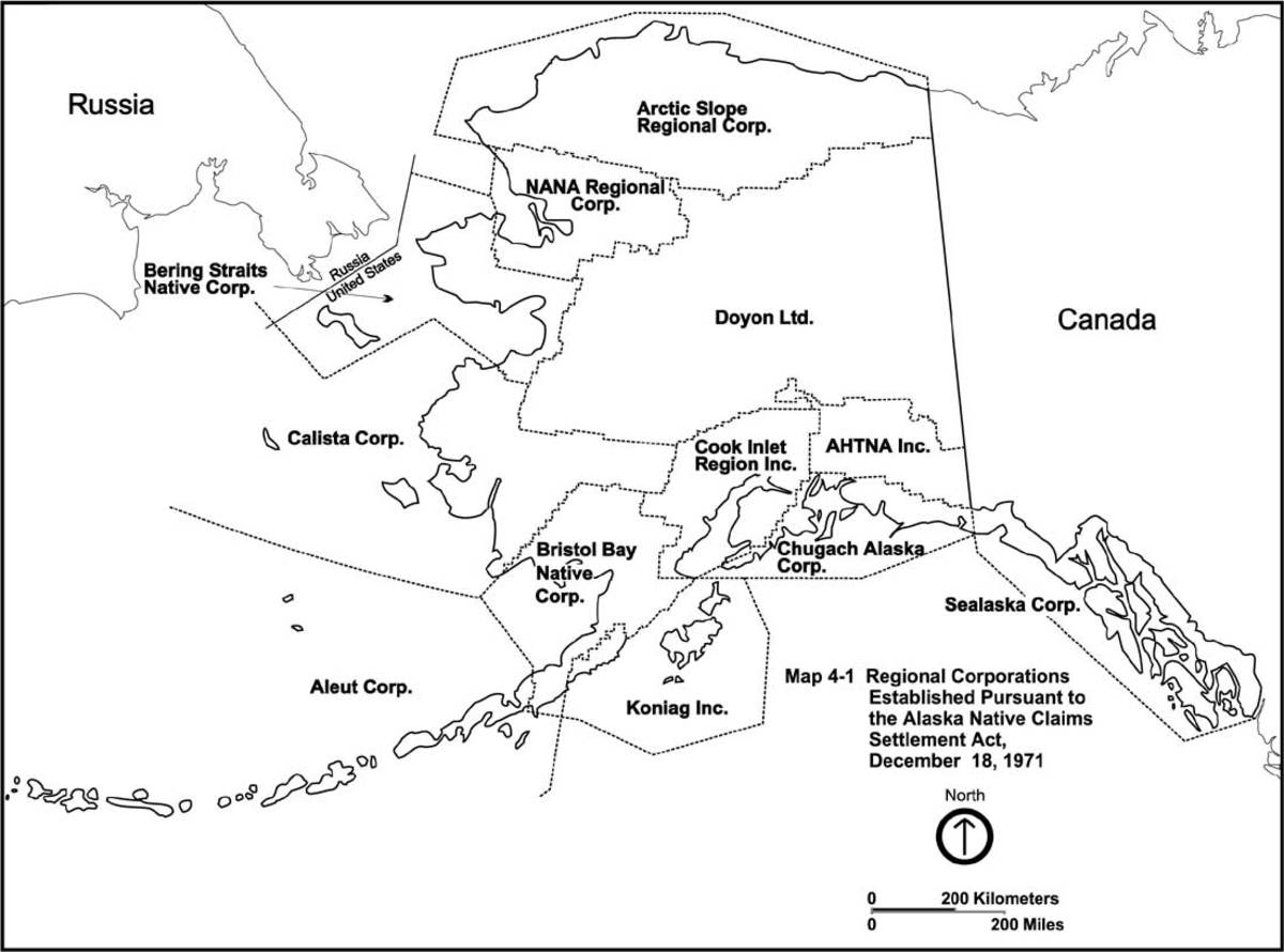 ANCSA: Alaska regional corporations map as designated by the Alaska Native Claims Settlement Act. (Photo courtesy of the National Park Service)
