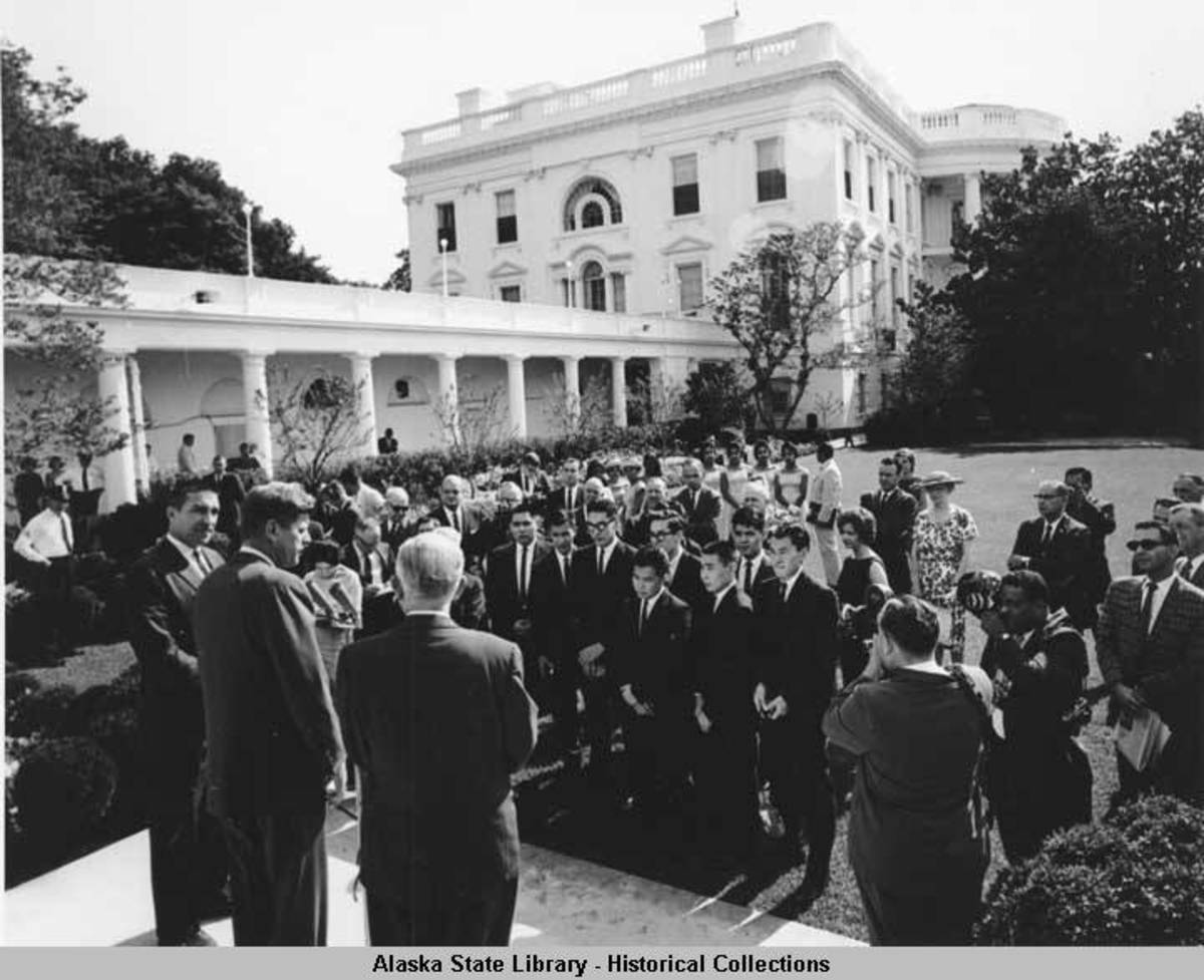 Group of Alaska Native youths visiting President Kennedy at the Whitehouse in Washington, D.C., Aug. 1962. (Photo courtesy of the Alaska State Library Historical Collections).