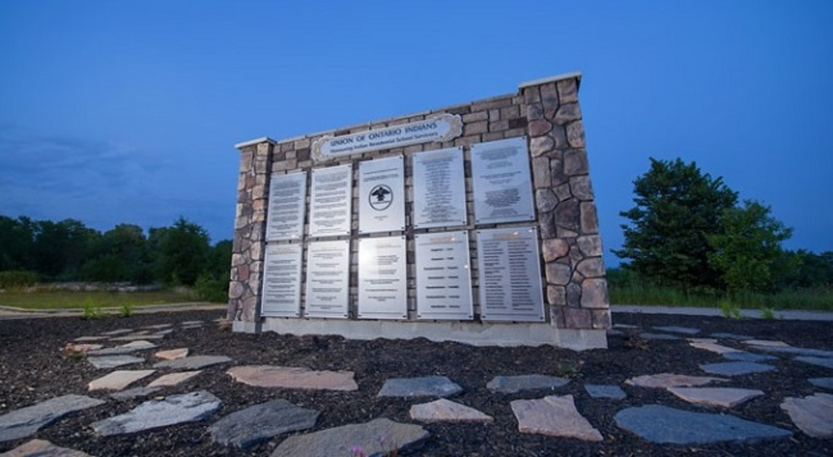 Pictured: The Indian Residential School monument located at the Anishinabek Nation head office on Nipissing First Nation.