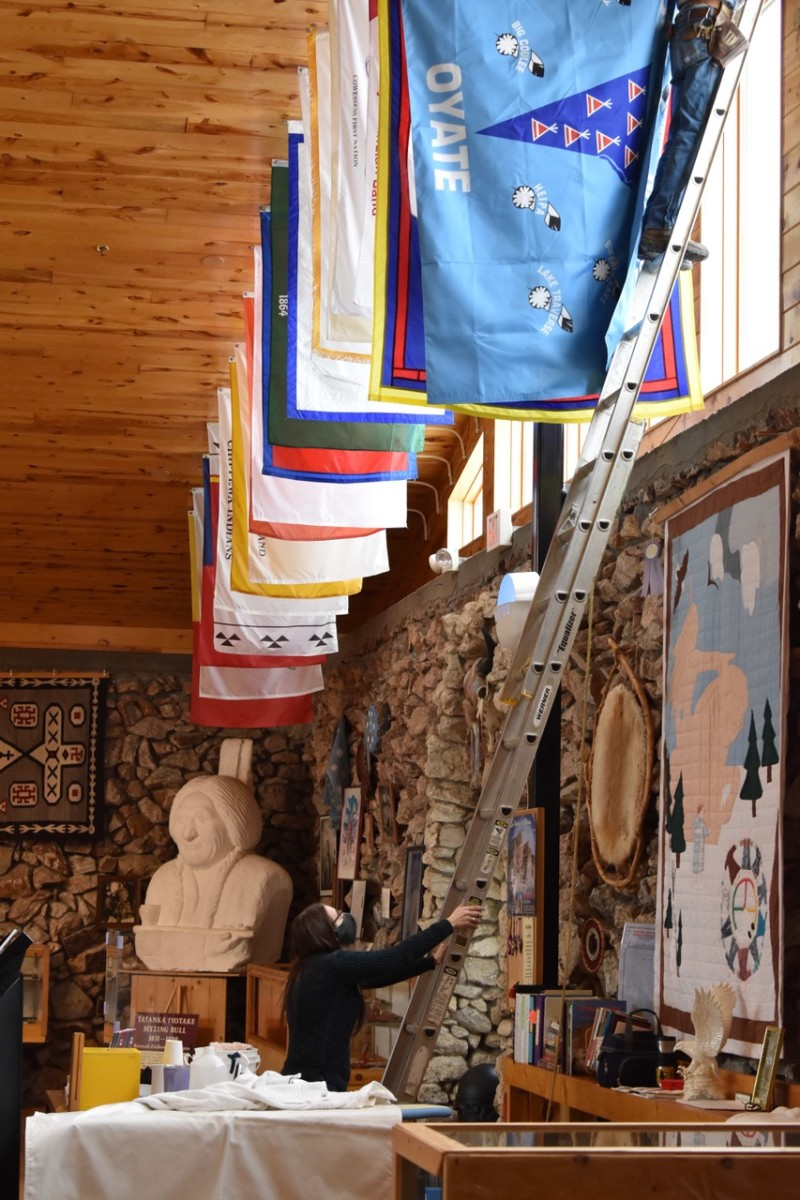Pictured: The Crazy Horse Memorial's tribal flag display,