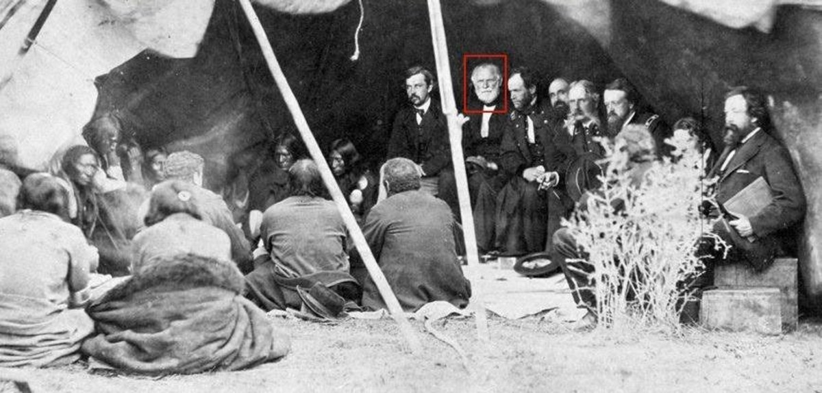 Brig. Gen. William S. Harney, center with white beard, sits next to Gen. William T. Sherman at the 1868 signing of the Fort Laramie Treaty. Harney was known by the Lakota as 'Mad Bear' and 'Woman Killer,' but he later apologized to one Lakota leader and testified before Congress that he felt Native Americans had been mistreated by the U.S. (Photo courtesy of Paul Stover Soderman)