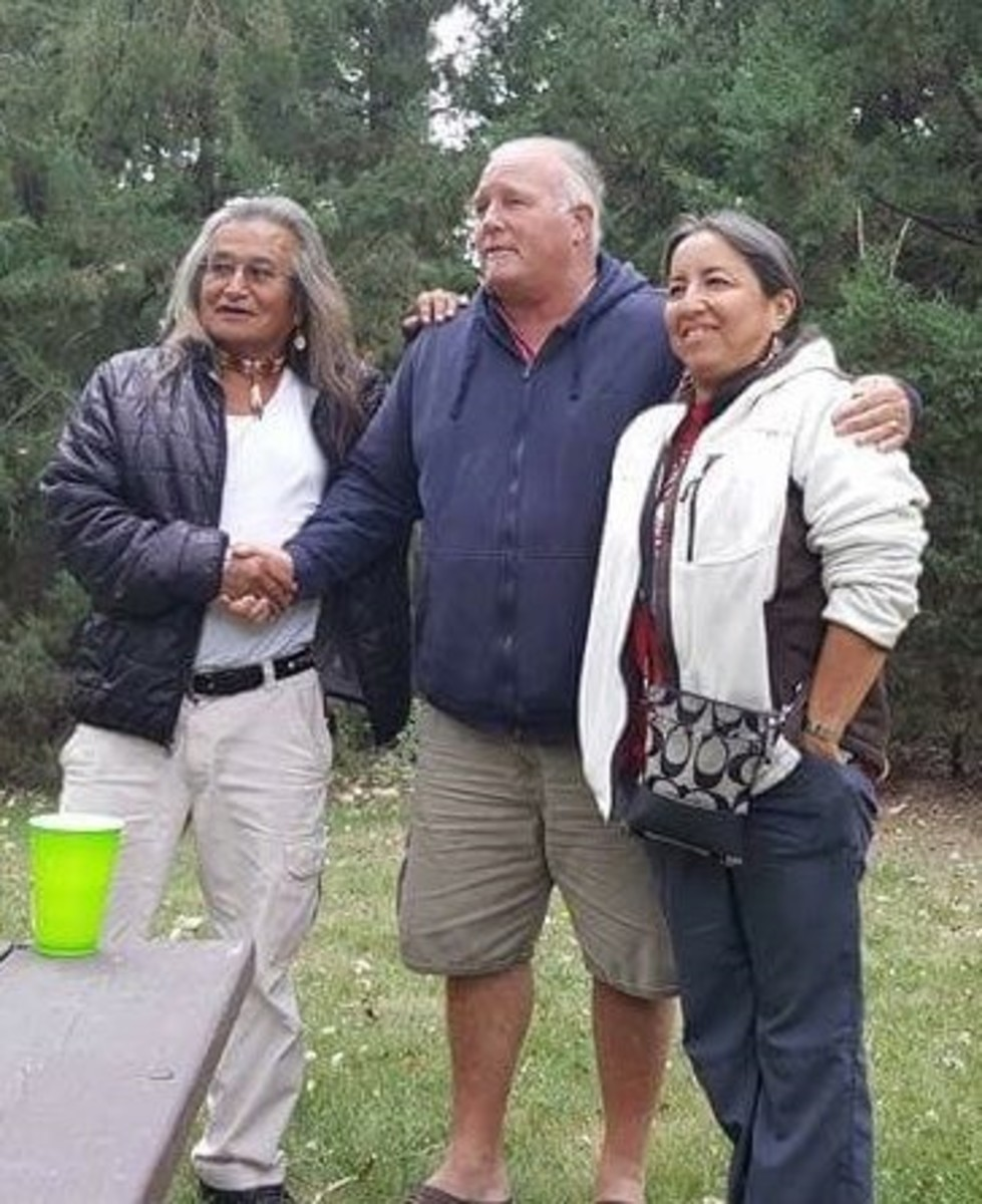 Phil Little Thunder, left, Paul Stover Soderman and Karen Little Thunder visited Ash Hollow together. It was here that Soderman's ancestor led an 1855 attack against a Lakota encampment headed by the Little Thunders' great-great-grandfather, Chief Little Thunder. They are working together to bring healing to the area. (Photo courtesy of Paul Stover Soderman)
