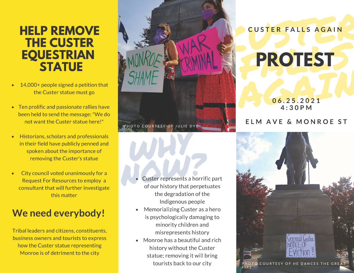 Custer statue information and ways to help trifold (1 of 2)